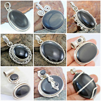 925 SOLID STERLING SILVER HANDMADE PENDANT IN BLACK ONYX OVAL SHAPE