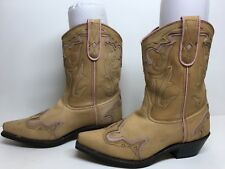 WOMENS UNBRANDED SNIP TOE COWBOY LEATHER LIGHT BROWN BOOTS SIZE 7.5 M