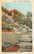 GRAND CANYON NATIONAL PARK AZ~STAIRS TO HERMITS REST~1920s FRED HARVEY POSTCARD