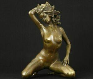 Art big bronze hand carved woman statue collectable Statues home deco carvings