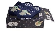 Star Wars Yoda Indoor Cosy Slippers Navy Blue Ladies Soft Slip On In Box Primark