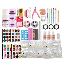 Professional Acrylic Liquid Nail Art Brush Glue Glitter Powder Buffer Tools Kit