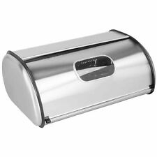Home Basics Stainless Steel Roll Top Bread Box with Window