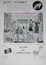 PUBLICITE NOTES D'ELEGANCE LIDO CHAMPS ELYSEES LOUIS VUITTON DE 1929 FRENCH AD
