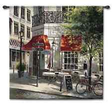 EUROPEAN CAFE PARIS STREET ART TAPESTRY WALL HANGING 52x52