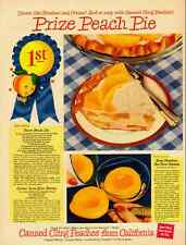 1949 vintage ad for California Canned Peaches, 'Prize Peach Pie!'  -020512