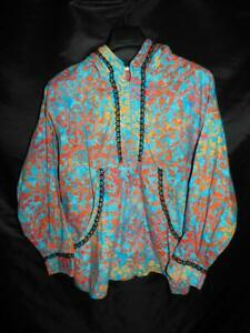 Alaska Native Eskimo Kuspuk L XL Blue Orange Tunic Shirt Half Zip Hood Pocket