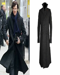 Sherlock Holmes Benedict Cumberbatch Classic Cape Wool Long Coat Costume Jacket