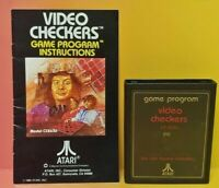 Atari 2600 Video Checkers Game & Instruction Manual Tested Works Rare