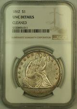 1862 Seated Liberty Silver Dollar NGC UNC Details Choice BU *Very Scarce* (KH)