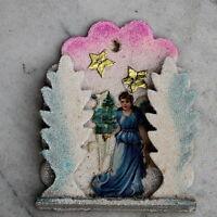 Christbaumschmuck Ornament m. Weihnachtsengel venezianischem Tau Dresdner Pappe