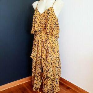 Women's Size M 'MIKA & GALA' Stunning yellow and navy ruffle jumpsuit- AS NEW