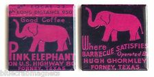 Pink Elephant FRIDGE MAGNET Set (2 x 2 inches each) forney, texas