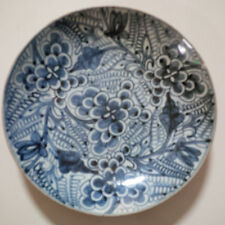 Old and Antique Chinese Qing Dynasty Blue and White 'Flower and Leaf' Dish