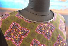 Raoul Dress Silk Leather Neckline Boho Chic Size 6 Colorful Retro Pattern Casual