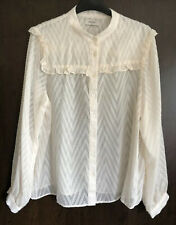 Papaya Cream Chiffon Long Sleeved Blouse Top Size 14