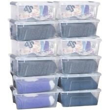 12PCS 144 Quart Home Clear Plastic Latch Stack Tubs Storage Box Container w/Lid