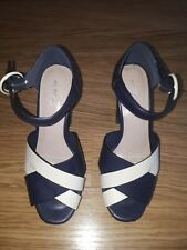 Ladies NEXT Shoes Heels - Size 4 UK - Blue And Cream