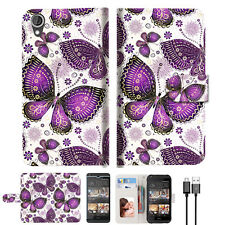 Purple Butterfly Wallet TPU Case Cover For HTC Desire 530 Phone Case -- A017