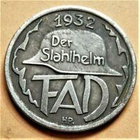WW2 GERMANY COMMEMORATIVE COLLECTORS COIN REICHSMARK '32 DER STAHLHELM 24 mm