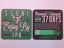 Beer COASTER <> STONE Brewing Co Enjoy By IPA <> Brewed & Enjoyed Within 37 Days