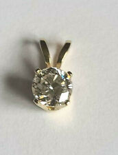 Classic 14k Yellow Gold Rabbit Ear .25 Carat Round J I1 Diamond Pendant Estate