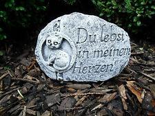 "Grabschmuck Katze ""Du lebst in meinem Herzen""  Steinfigur  Frostfest  Steinguss"