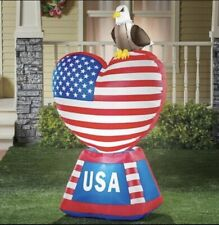 5' AIR INFLATABLE AMERICAN FLAG HEART WITH EAGLE