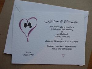 50 x Personalised Wedding Invitations 'Heart Feature' Day and/or Eve Can Mix