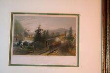 Hand colored steel engraving, Rail-road scene, Little Falls, New York