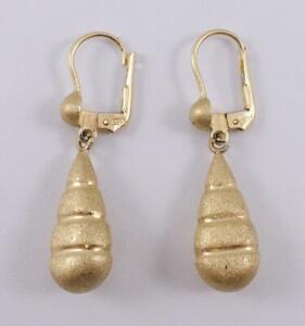 """14K yellow gold ladies 1.5"""" drop dangle matte teardrop earrings Italy 4.8g"""