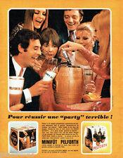 """PUBLICITE ADVERTISING 096  1969   le mini-fut bière Pelfoth  """"Party"""""""