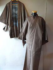 Men's Japanese Kasuri Ikat Oshima Tsumugi Kimono & Haori Jacket set Size ML~L s2