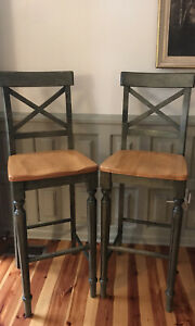 Solid Wood Bar Stools - Set Of 2, Pier One Mild Wear/Tear
