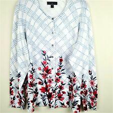 Karen Scott Women's Size 1X Cardigan Lightweight Summer Sweater Floral Print New