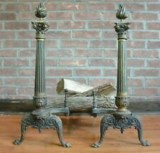 Antique Neoclassical Brass Column Andirons; Flame Finial