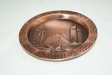 "Dubai Souvenir 5"" Round Matte Copper Tray Embossed Camel Sailboat Skyline"