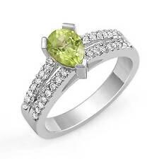 1.00 Ct Pear Peridot Round Diamond Engagement Ring Anniversary 14k Gold White