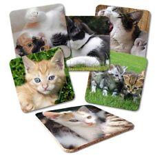 Untersetzer 6-tlg.Set 'Katzen' mit Korkrückseite in Klarsicht-Geschenkbox Katze