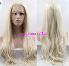 Blonde Synthetic Lace Front Wig Natural Long Hair Women WIgs Heat Resistant