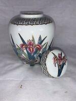 VINTAGE AYAME PORCELAIN GINGER JAR Covered  JAPAN Irises Floral Decorative e397