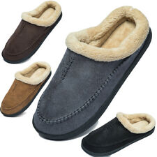 Newdenber House Slippers Man Suede Faux Fur Slippers Slip On Comfort Home Shoes