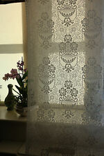 "Scottish Cream Cotton Lace Curtain Panelling Yardage  68"" Portia Period design"