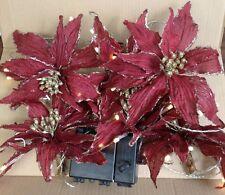 Qvc H206312 Kringle Express 6 Poinsettia Decorative 10' Light Strand