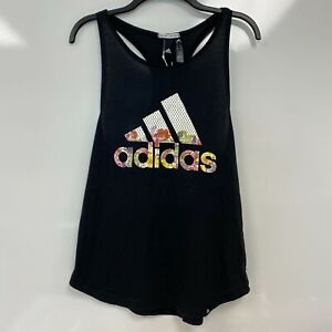 Adidas Womens Black Floral Essential Loose Sleeveless Tank Top Size S $25 *RARE