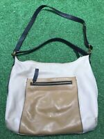 FOSSIL ISSUE NO 1954 Two Tone Tan BROWN LEATHER SATCHEL TOTE / CROSS-BODY BAG