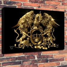 "Queen Rock Band Gold Crest Printed Box Canvas Picture A1.30""x20""- 30mm Deep"