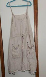 MAGNOLIA PEARL NATURAL SLEEVELESS DRESS NAVY TRIM POCKETS