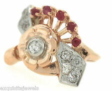 Lovely Ladies Antique Retro 1940s Solid 14K Rose Gold Ruby Diamond Cocktail Ring