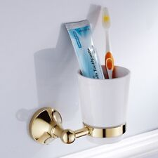 Gold Color Brass Wall Mounted Ceramic Cup Toothbrush Holder Bathroom Accessories